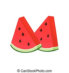 Two pieces of watermelon. Vector illustration on white background.