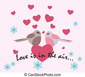 Two pigeons with love heart