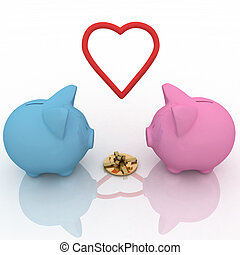two piggy-bank with gift and heart
