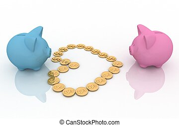 two piggy-bank with heart from coins