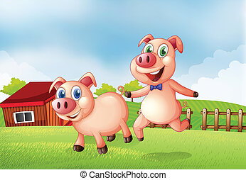 Two pigs at the farm