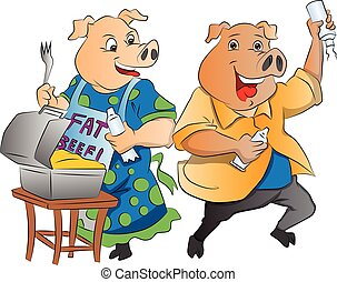 Two Pigs, illustration - Two Pigs with Lunch Box and Whipped...