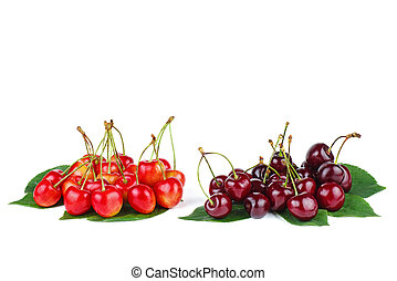 Two piles of diffrent cherries