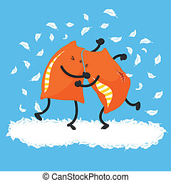two pillows having a pillow fight