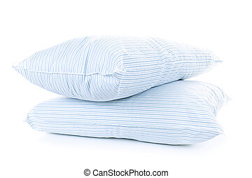 Two pillows - Two soft pillows with blue striped covers ...