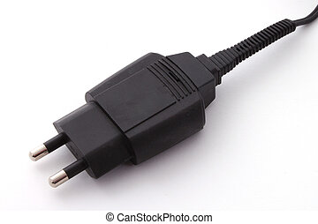 Two pin electrical plug over a white background.
