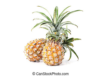Two pineapple fruits Isolated on white backgrounds