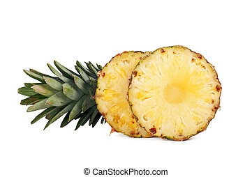 two pineapple rings isolated on a white background