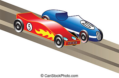 two pinewood derby cars racing down a track