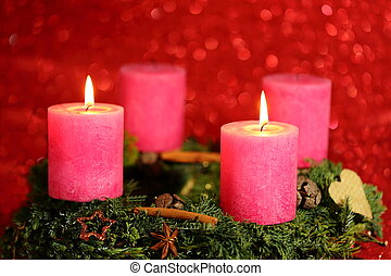 two pink candles
