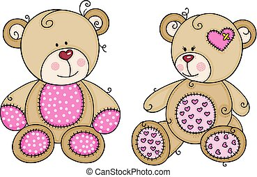 Two pink cute teddy bear