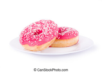 two pink donut on a plate
