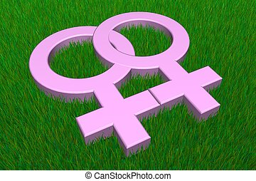 Two Pink Female Symbols on Grass