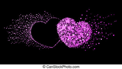 Two pink hearts on black background. Concept of eternal love