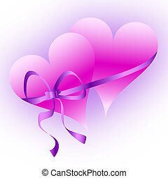 Two pink hearts tied with a ribbon
