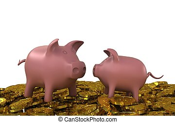 Two pink piggy bank on the golden dollar coins. 3D rendering