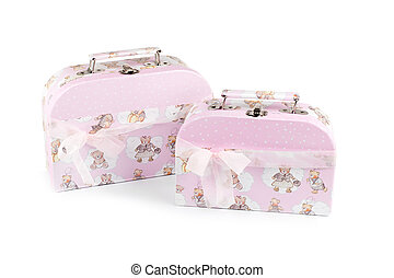 Two pink suitcase