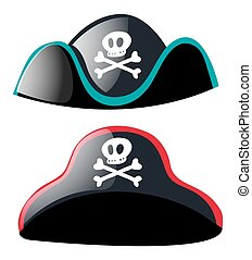 Two pirate hats on white background