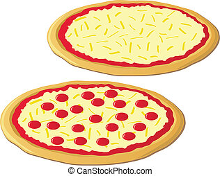 Two Pizzas - An illustration of two delicious cheese pizzas,...