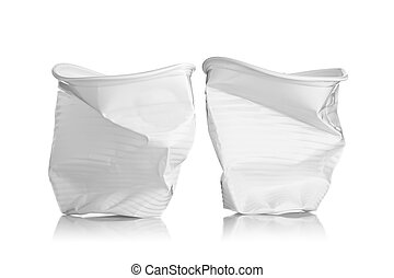 two smashed plastic cups, isolated on white background