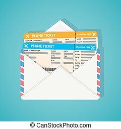 Two plane tickets in envelop.