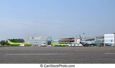 Two planes of airlines GLOBUS are on field at  Domodedovo airport