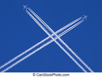 two planes that cross in the sky