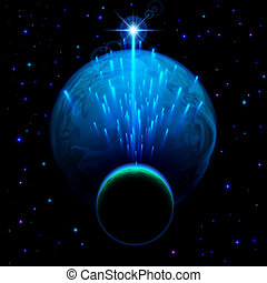 Two planets and star shower - Space background. Big blue...