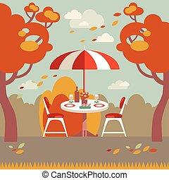 two., plat, pique-nique, romantique, moderne, automne, vecteur, illustration.
