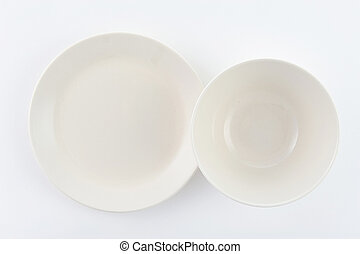 two plate on white background