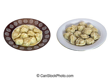 Two plates with meat dumplings isolate on a white background close-up.