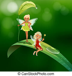 Two playful fairies - lllustration of the two playful...