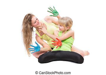 Two playful girls