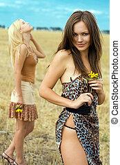 Two playful women