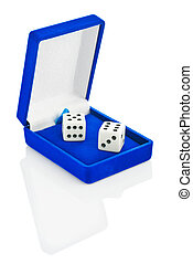 two Playing dice in blue box isolated