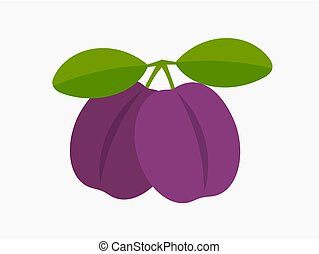 Two plums icon. Vector illustration.