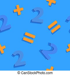 Two plus two seamless pattern. Blue numbers with orange arithmetic signs algebraic counting in mathematics business calculations and marketing vector operations addition in retail.