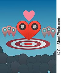 Two pointer combine to heart illustration