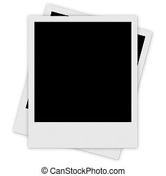 Two polaroid photo frames isolated over white