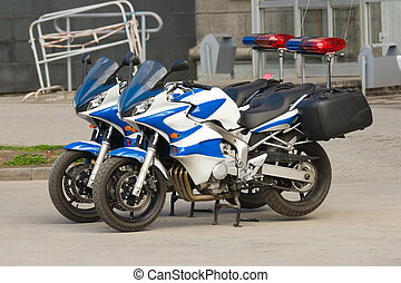 two police motorcycles