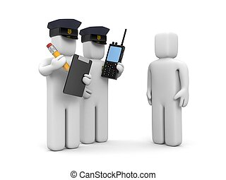 Two police officer and stupid driver. 3d illustration