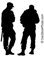 Two police people - People of special police force on white ...