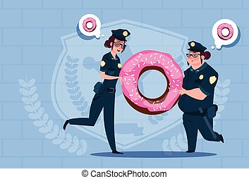 Two Police Women Holding Donut Wearing Uniform Female Guards On Blue Bricks Background