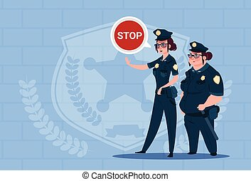 Two Police Women Holding Stop Sign Wearing Uniform Female Guards On Blue Bricks Background