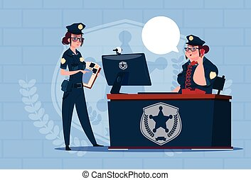 Two Police Women Working On Computer Wearing Uniform Female Guards On Blue Bricks Background