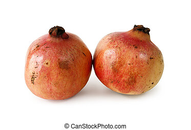 Pomegranates on white background