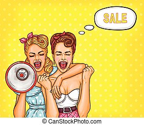 Two pop art girls are reporting a sale - Vector pop art...