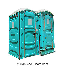 two portable toilets isolated on a white background