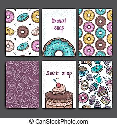 Two posters vector template with donuts and pie. Advertising for bakery shop or cafe. Sweet background.