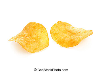 Two potato chips on a white background